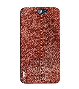 Omnam Threaded Pattern On Red Leather Printed Designer Back Cover Case For HTC One A9