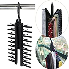 HOKIPO Plastic Adjustable Criss-Cross Necktie Rack Hanger(Black)