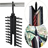 #9: HOKIPO Plastic Adjustable Criss-Cross Necktie Rack Hanger(Black)