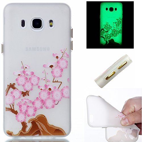 Galaxy J3 (2016) J310 Hülle,Galaxy J3 (2016) J310 Case,Cozy Hut ®TPU Leuchtende Nacht Silikon Schutzhülle Handyhülle Painted pc case cover hülle Handy-Fall-Haut Shell Abdeckungen für Samsung Galaxy J3/ J3 (2016) J310 - Plum Blume