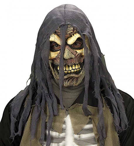 shoperama Horror-Maske mit zerrissener Kaputze Totenkopf Halloween Skull Tod Latex Geist WID, Farbe: Beige