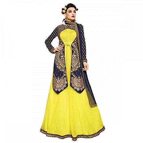 She Fashion Boutique Blue and Yellow pure net floor length Anarkali Salwar...