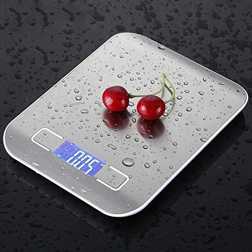 WLYZX 10kg Haushaltsküchenwaage Elektronische Nahrungsmittelskalen Diätwaagen Messwerkzeug dünne LCD-Digital-elektronische wiegende Skala (Color : Metal White, Load Bearing : 5Kg)