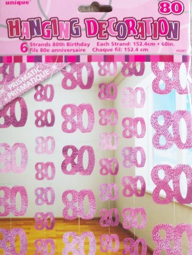 80TH BIRTHDAY HANGING DECORATION (NEW UNIQUE PINK hol) by Every-occasion-party-supplies