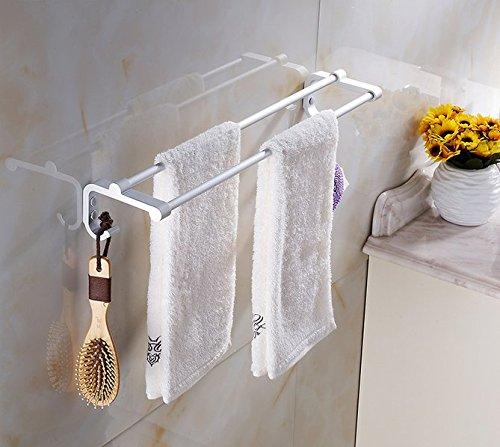 Spazio alluminio Portasciugamani doppia barra di tovagliolo solido piedistallo spessore Accessori bagno asciugamano Bar portasciugamani 60cm