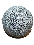 DECORATIVES PARKLING CRACKLE GLASS MOSAIC GLOBE BALL ORNAMENT (9CM 10CM 11CM) (SILVER/WHITE, 11CM)