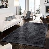T&T Design Teppich Handgetuftet Modern Edel Viskose Garn Schimmer Glanz Anthrazit, Größe:10x10 cm