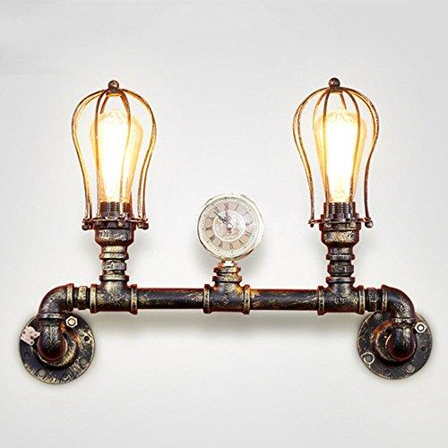 NIUYAO Wandleuchten Wandlampe Loft Stil Cage Lampenschirm Metall Rohrleitung Vintage Retro Industrie Innenbeleuchtung Wände Leuchten 2 Licht-Messing -