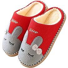 Pastaza Zapatillas de Casa Mujer Hombre Invierno Interior Caliente Suave Antideslizante Slippers