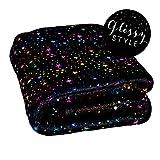 dhal Kuscheldecke mit Sternen im Glossy Glamour Effekt | Decke 160x130cm Stern Krabbeldecke (Sterne Galaxy Black)