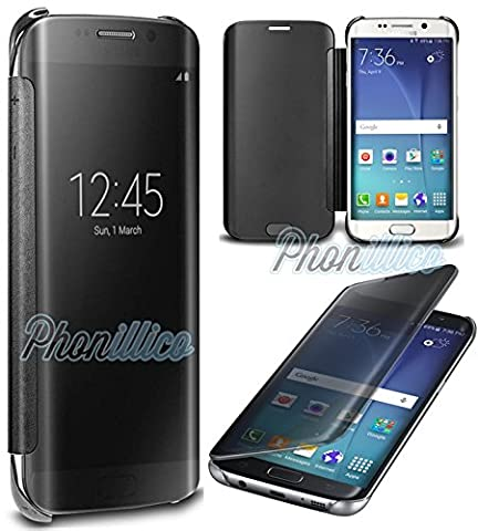 Phonillico® Coque Flip Clear View Noir Samsung Galaxy S7 EDGE - Coque Housse Etui Case Protection Rabat Fenetre Window Cover View Miroir Ultra Slim