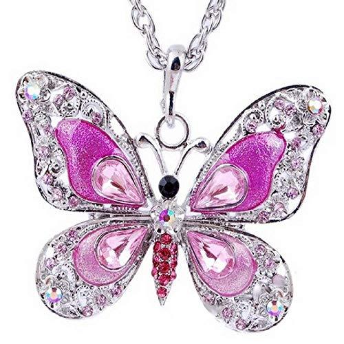 Kette für Frauen - Damen halskette - Schmetterling - Glitzern - Lang - Valentinstag - Rosa silberne farbe
