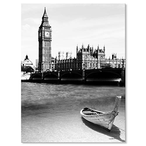 Sept murale Arts - Noir et Blanc moderne Architecture Landmark Impression Impression sur toile giclée des illustrations pour décoration de la maison, Uk London Big Ben, 24 x 32 Inch