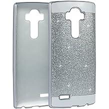 LG G4 PC Dura,LG G4 Tapa,Asnlove Carcasas y Funda Hard Case,Teléfono Móvil Caja Protectora Dura Colorido Chic Caso, Cover Policardonato Dura Brillo Case Diseño Bling Brillante Protectora Bumper Tapa Trasera para LG G4-Plateado