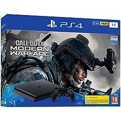 Sony PlayStation 4 Slim 1 To + Call of Duty Modern Warfare, Avec 1 Manette Sans Fil DUALSHOCK 4 V2, Châssis F, Noir (Jet Black), Art : 9322900