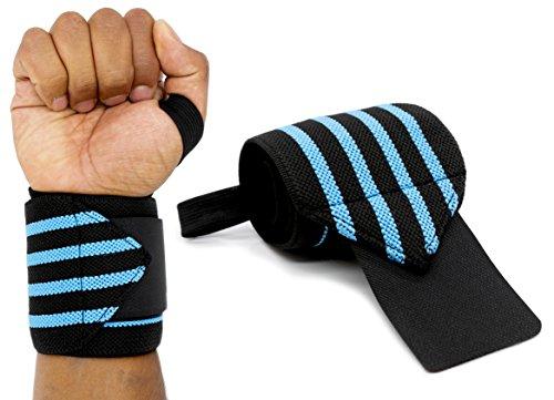 MyGadget Elastische Handgelenk Bandagen - 2X Sport Handgelenkbandage (Daumenschlaufe) Kompression für Fitness, Bodybuilding, Tennis & Kraftsport - Blau -