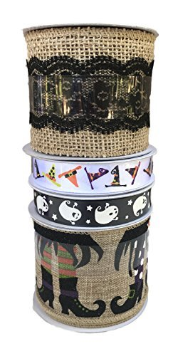 Geister Hexe Stiefel und Hüte und Natur Jute mit Spitze Paket von vier Halloween themed Bänder