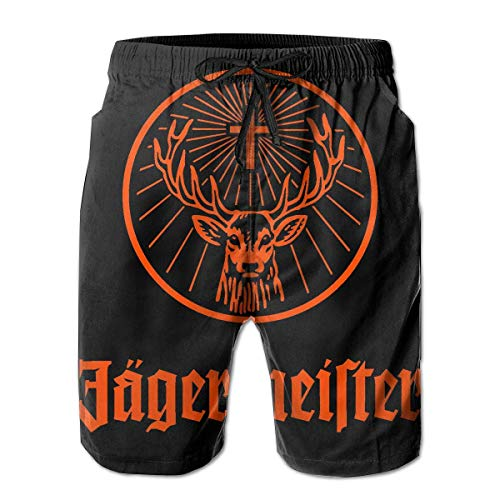 Feng Huang Herren Badeshorts mit Jägermeister-Logo und schnell trocknender Spitze, Strand-Boardshorts, Netz-Beachwear XXL