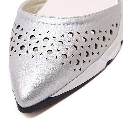 Boucle Pointu Correct à Légeres Cuir Unie PU AgooLar Couleur Argent Talon Femme Chaussures zSxw5I5
