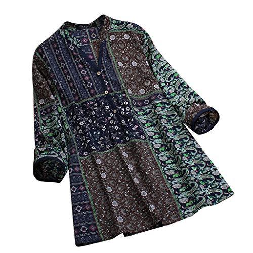 Blusa Sueltas Cómodo con Cuello en V y Manga Larga Camisas Informales Estampado étnico Estilo Popular para Mujer Ropa Casual Tallas Grandes Yvelands(Armada,XXL)