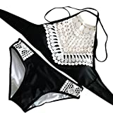 Hmeng Frauen Vintage Aushöhlen Lace Bademode Damen Sexy Halter Bikini Set Badeanzüge Zwei Stück (XL, Schwarz)