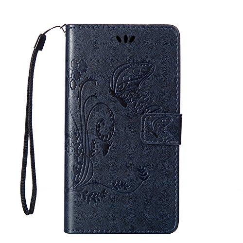 Nokia 640 XL Hülle, SpiritSun Ledertasche Schutzhülle für Microsoft Nokia Lumia 640 XL Folio PU Leder Tasche Case Cover Bookstyle mit Standfunktion und Kredit Kartenfächer (Schmetterling und Blume, Navy Blau)