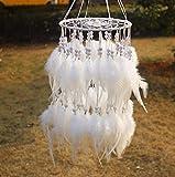 Bovlee Laterne Traumfänger Handarbeit Farbige Natürliche Feder- Mode Hängende Geschenk Indischen Traditionellen Stil Innen Wand- Innenausstattung, Weiß