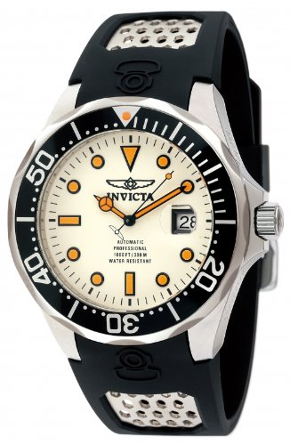 Invicta Grand Diver Men's Automatic Watch with White Dial Analogue Display and Black PU Strap 11753