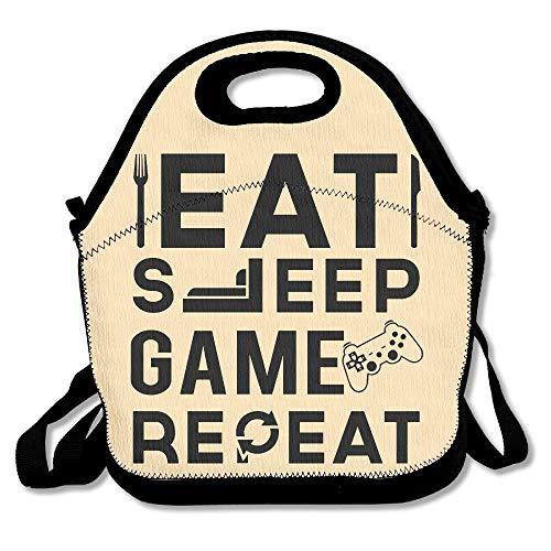 Eat Sleep Game Repeat Wiederverwendbare Ziplock Crossbody Picknicktasche Design für Büro tragbare Brotdose Kühltasche für die Schule Lunchbox für Damen, Erwachsene, Jungen und Mädchen