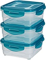 AmazonBasics 3pc Airtight Food Storage Containers Set, 3 x 0.80 Liter