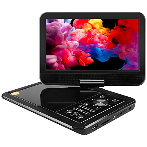 APEMAN 10,5'' Tragbarer DVD-Player mit 5 Stunden Akku Drehbarem Display Unterstützt SD-Karte USB AV OUT/IN - Dvd-player Für Tragbare Kopfhörer