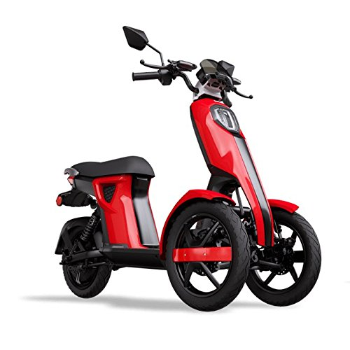 iTango Scooter electrico Adulto Innovative Design - Patinete eléctrico con Tres Ruedas USB, Bluetooth APP ( hasta 45 km/h) Rojo