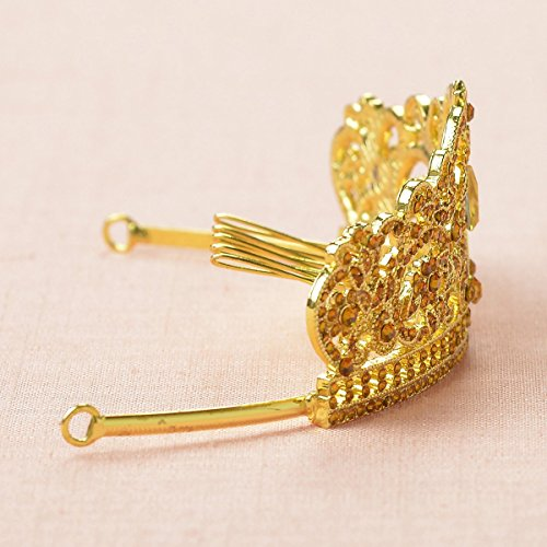 Remedios Cristal de fleur de mariage Filles Couronne Tiara Prom Kids Party Bandeau Filles Bandeau avec peigne Or