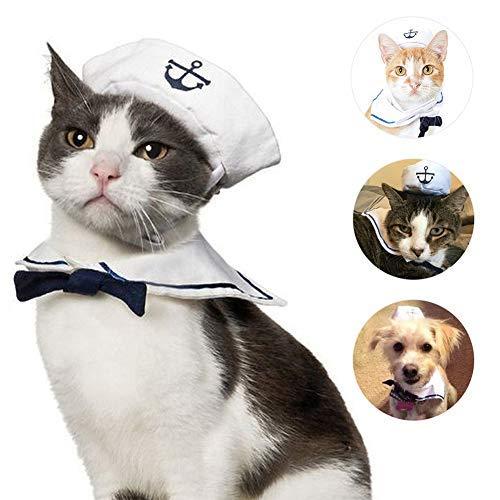 Halloween Sailor Cute Kostüm - Yslin Kleidung Jumpsuit lustiges Piraten-Motiv, inkl. Hut, Haustier Hund Katze Halloween Kostüme, Hundekostüm Sailor Kostuem Hut Marine Warme Cute Weiches