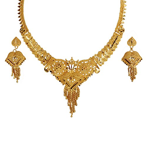 Mansiyaorange Party Wedding Wear One Gram Gold Original Wax Forming Work Premium Golden Necklace Set For Women  available at amazon for Rs.399