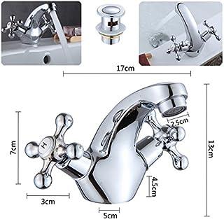 Traditionelle Kreuz Kopf chrom Mono Badezimmer Waschbecken Mixer Wasserhahn w/kostenlosem Abfluss