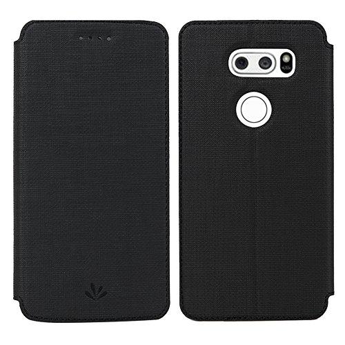 Simicoo LG V30 Hülle, LG V30 Premium Leder Tasche Flip klappbares Handyhülle Case Standfunktion Kartenfach Magnetverschluß Card Holder kristallklarer TPU Wallet Schutzhülle für LG V30 (LG V30, Black)