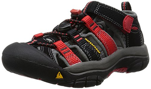 Keen Newport H2, Unisex-Kinder Trekking & Wanderhalbschuhe, Schwarz (black/racing red multi), 35 EU (2 UK) (Multi Black Kinder Schuhe)