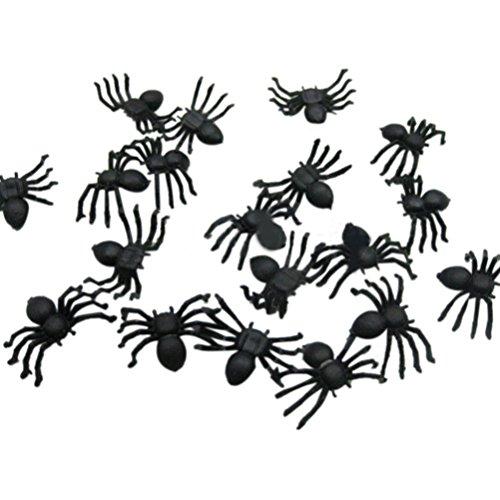 HCFKJ 2017 Mode Halloween 20 Pc Plastic Black Spider Witze Spielzeug Dekoration - Realistische Halloween-masken 2017