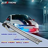 #9: AllExtreme 4 Pcs RGB 3 Colour Strobe Emergency Warning Flexible Light Strip Tube with 3M Adhesive - 12V 4x36 LEDs 60CM DRL Daytime Running, Parking and Turn Signal Decorative Lamp for Cars
