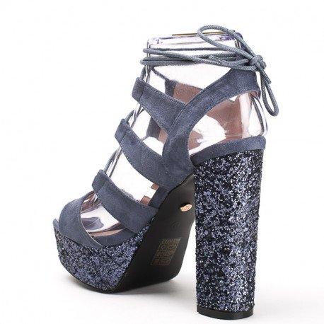Ideal Shoes - Sandales à talon carré pailleté style spartiate Maena Bleu