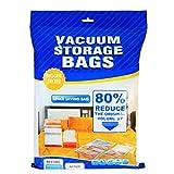 Ahorro de espacio Premium de bolsas al vacío Makife bolsas de viaje para el paño almohada manta con 1 Bomba de mano libre para un 80% más de compresión de Espacio Funciona con cualquier Aspirador, 5 Pack, 60 x 80cm