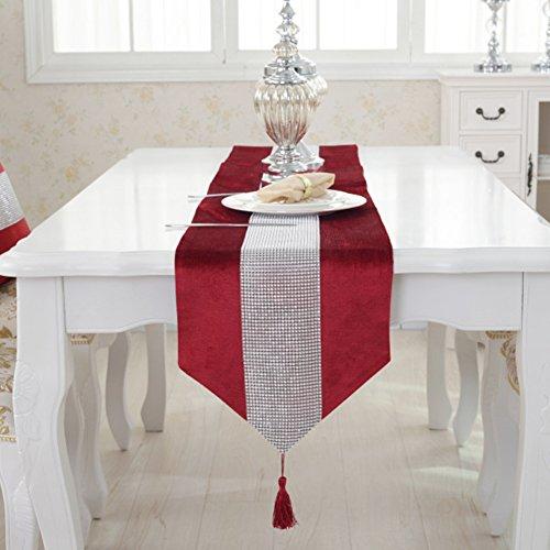 Sada72, runner da tavola moderno con strass e nappe in flanella, elegante tovaglia per tavolo da pranzo, tovagliette all'americana per la casa, matrimoni, feste di natale, red, 32 * 180cm