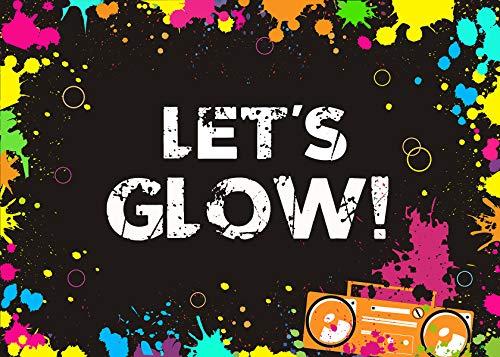 y Hintergrund Let's Glow Spritzteller Fotografie-Hintergrund 17,8 x 1,52 m Vinyl leuchtende Party-Hintergründe Banner Dekoration Neon Party Supplies ()
