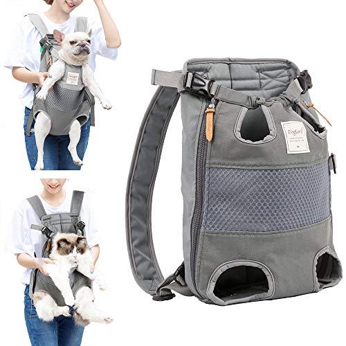Lampop Haustier-Rucksack für Hunde Verstellbar Sichere Katzen-Vorderseite Doppelte Schultertasche Leicht Kopfbeine Schwanz aus der Hand frei für Reisen Camping Wandern Motorrad und Fahrrad