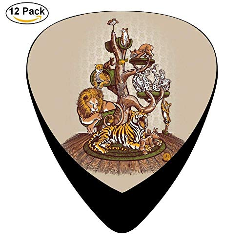 Celluloid Guitar Picks For Electric Guitar,Print Cat Family Tree,12 Pack (Family Halloween Tree)