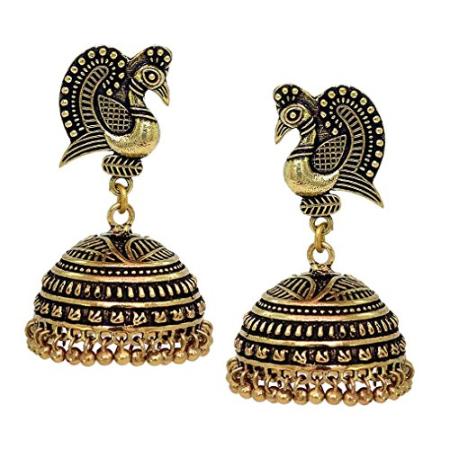 V L IMPEX Dancing Peacock Style Black Metal Gold Palted Oxidized Jhumka Jhumki Earrings