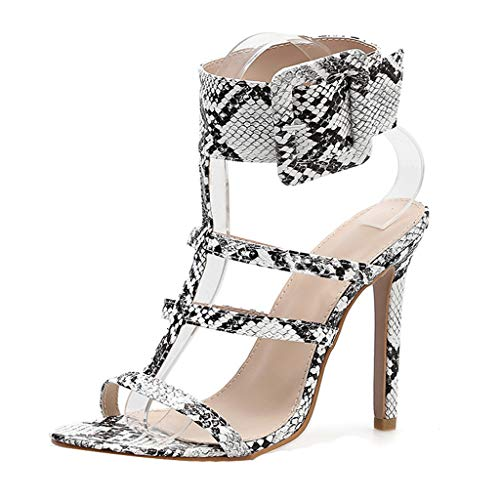 Spike Heel Platform Slip (High Heels Sandals, Quaan Fashion Ladies Sexy Round Toe Shoes On Word Buckle Non-Slip Dinner Platform Shoes British Retro Belt Casual Axido Injection Beach Latin Dance Jazz Shoes)