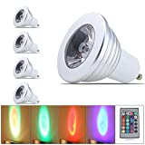 QUESTWAY 4 Pack Colorful Lighting Dimmable GU10 LED BULBs RGB GU10 LED 3W Spotlight Bulb Color Changing Light With Remote Control GU10 Energy Saving Bulbs