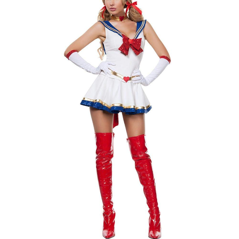iBaste Moda Mujer 2018 Blanco Disfraz de Halloween Sexy Sailor Moon Cosplay Movie Girl Traje de Dibujos Animados de Mercurio